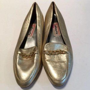 Vintage Talbots Flats 6 Gold Italian Leather Chain